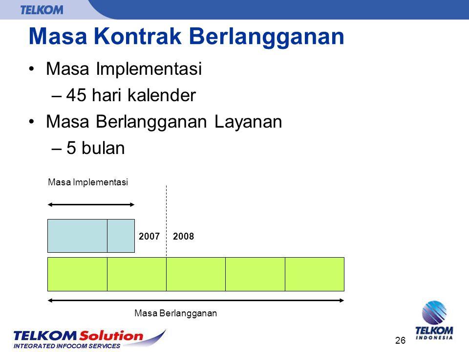 26 Masa Kontrak Berlangganan Masa Implementasi –45 hari kalender Masa Berlangganan Layanan –5 bulan 20082007 Masa Berlangganan Masa Implementasi