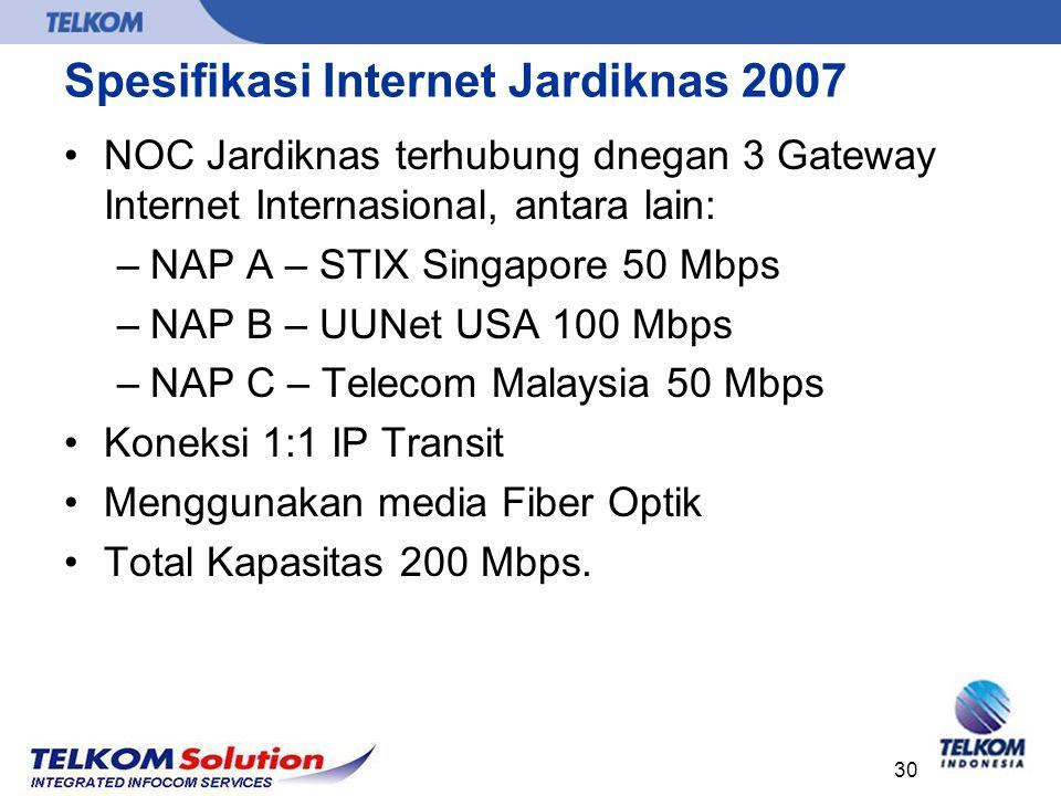 30 Spesifikasi Internet Jardiknas 2007 NOC Jardiknas terhubung dnegan 3 Gateway Internet Internasional, antara lain: –NAP A – STIX Singapore 50 Mbps –