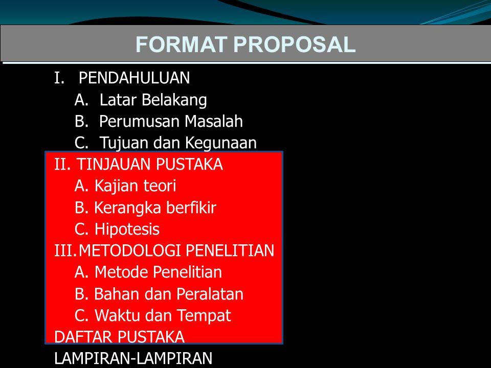 FORMAT PROPOSAL I.PENDAHULUAN A.Latar Belakang B.