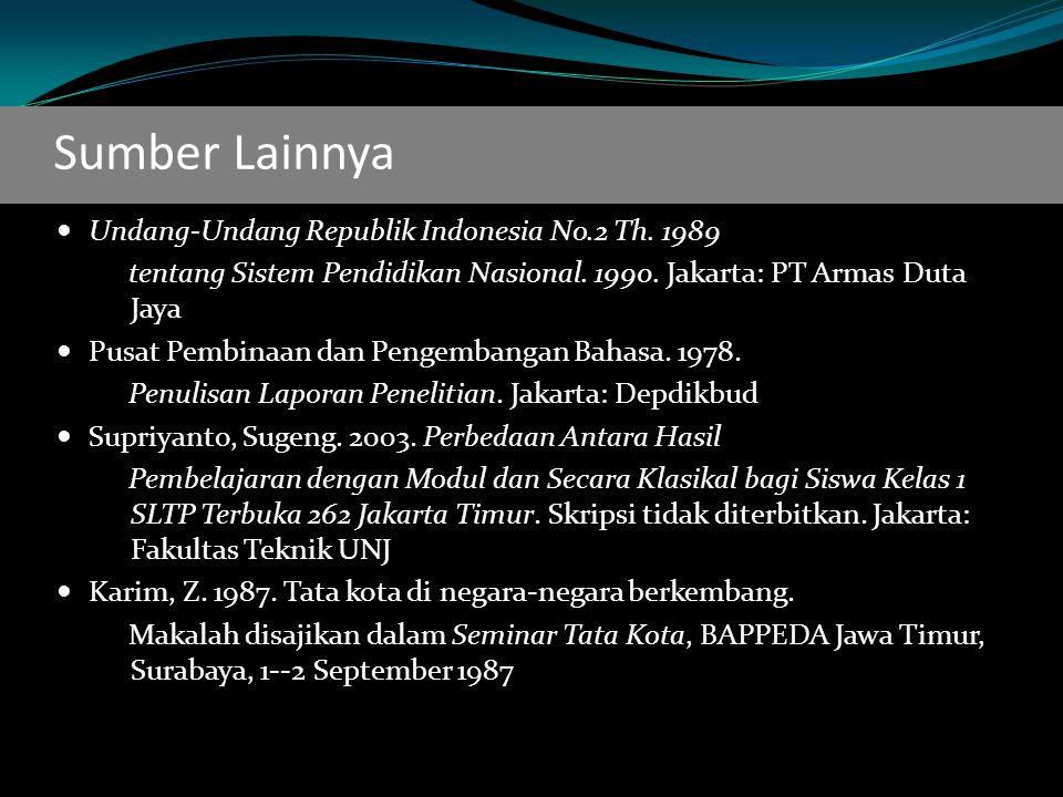 Sumber Lainnya Undang-Undang Republik Indonesia No.2 Th.