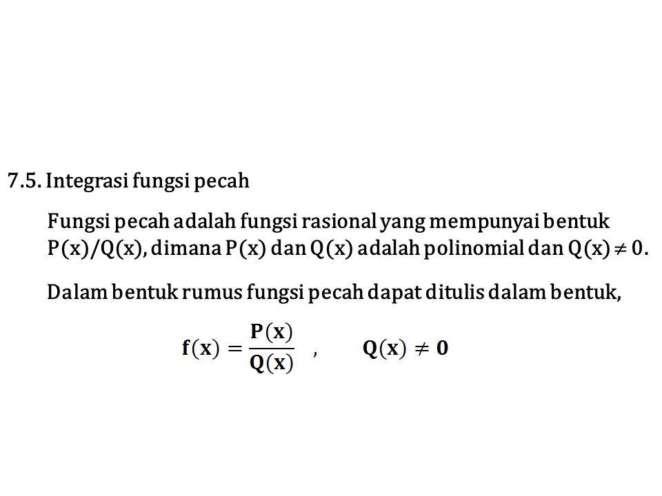 Jika ∫f(x)dx tidak dapat diselesaikan dengan metode substitusi, maka gunakan metode pecahan parsial.