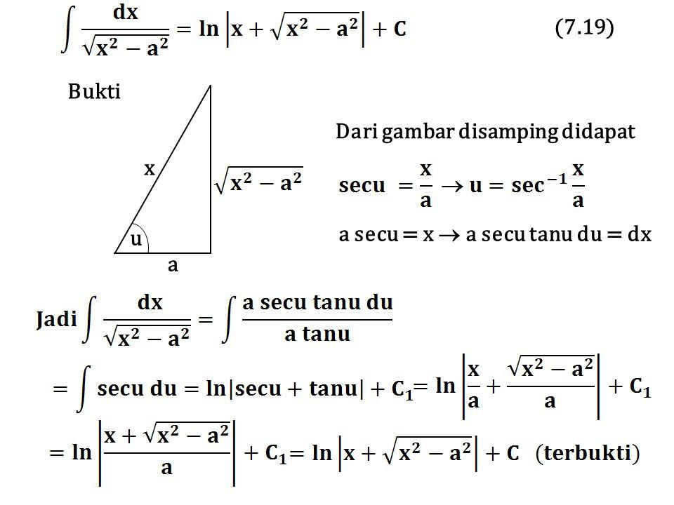 Bukti Dari gambar disamping didapat a secu = x  a secu tanu du = dx x a u (7.19)