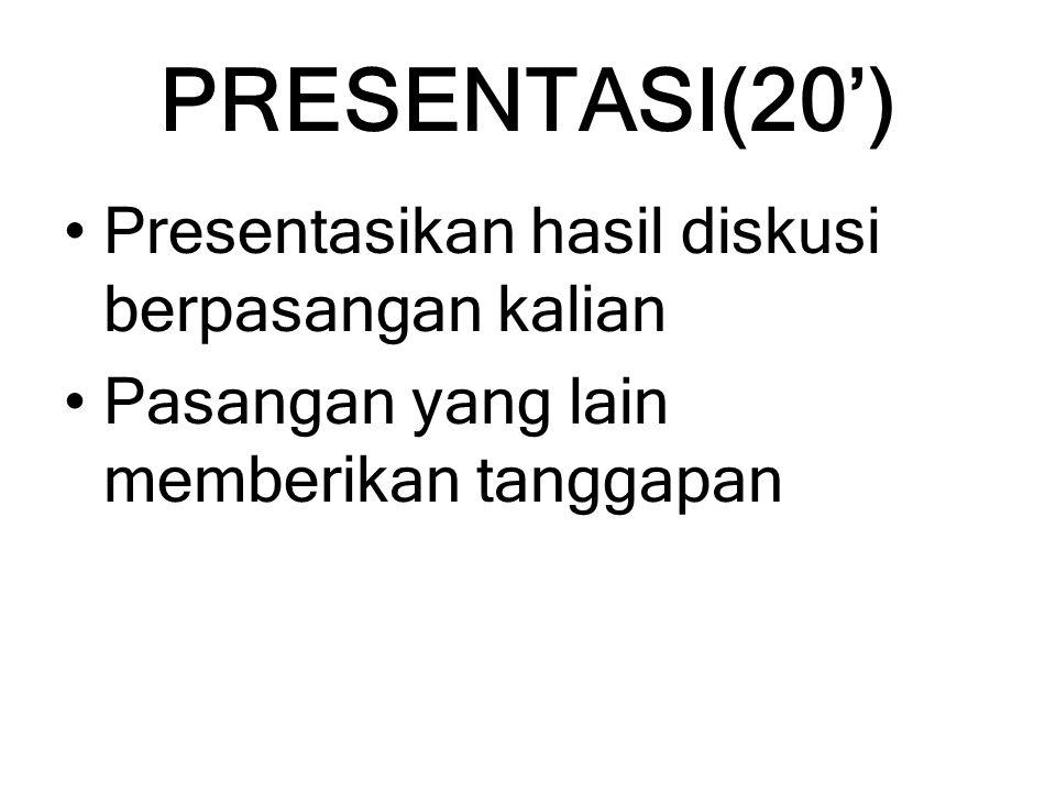 PRESENTASI(20') Presentasikan hasil diskusi berpasangan kalian Pasangan yang lain memberikan tanggapan