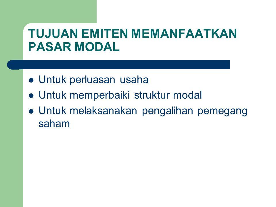 TUJUAN EMITEN MEMANFAATKAN PASAR MODAL Untuk perluasan usaha Untuk memperbaiki struktur modal Untuk melaksanakan pengalihan pemegang saham