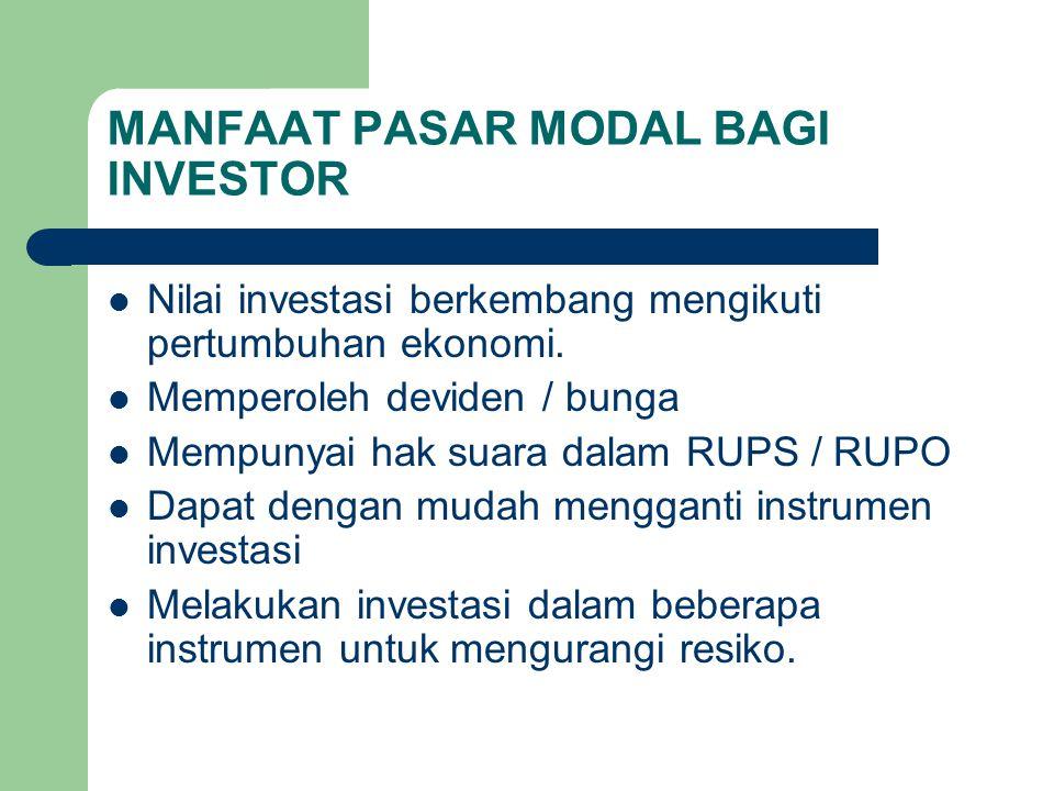 MANFAAT PASAR MODAL BAGI INVESTOR Nilai investasi berkembang mengikuti pertumbuhan ekonomi. Memperoleh deviden / bunga Mempunyai hak suara dalam RUPS