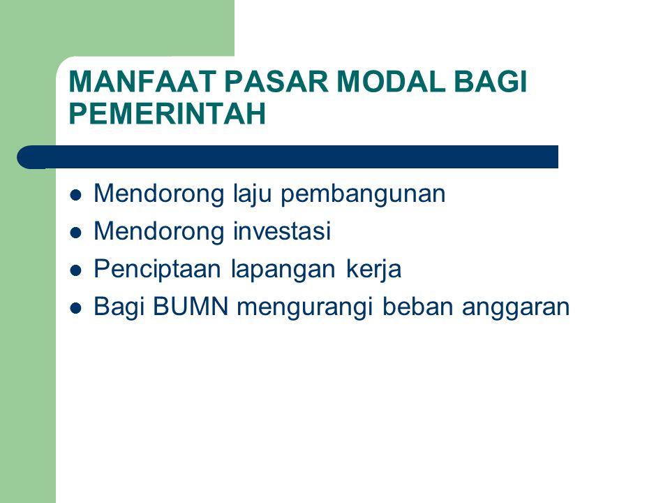 MANFAAT PASAR MODAL BAGI PEMERINTAH Mendorong laju pembangunan Mendorong investasi Penciptaan lapangan kerja Bagi BUMN mengurangi beban anggaran