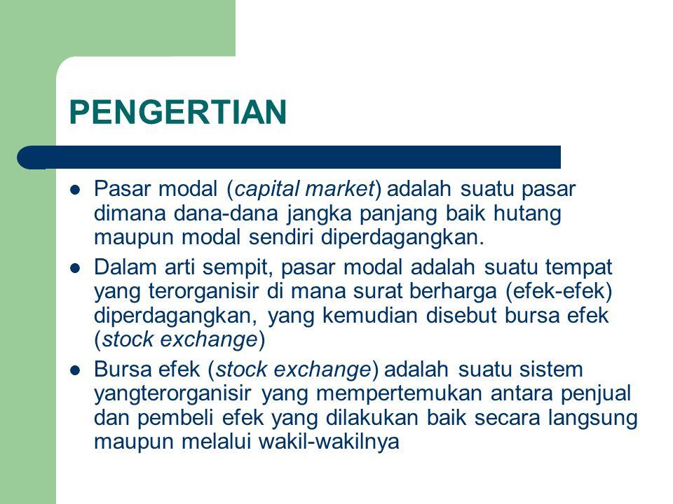 PENGERTIAN Pasar modal (capital market) adalah suatu pasar dimana dana-dana jangka panjang baik hutang maupun modal sendiri diperdagangkan. Dalam arti