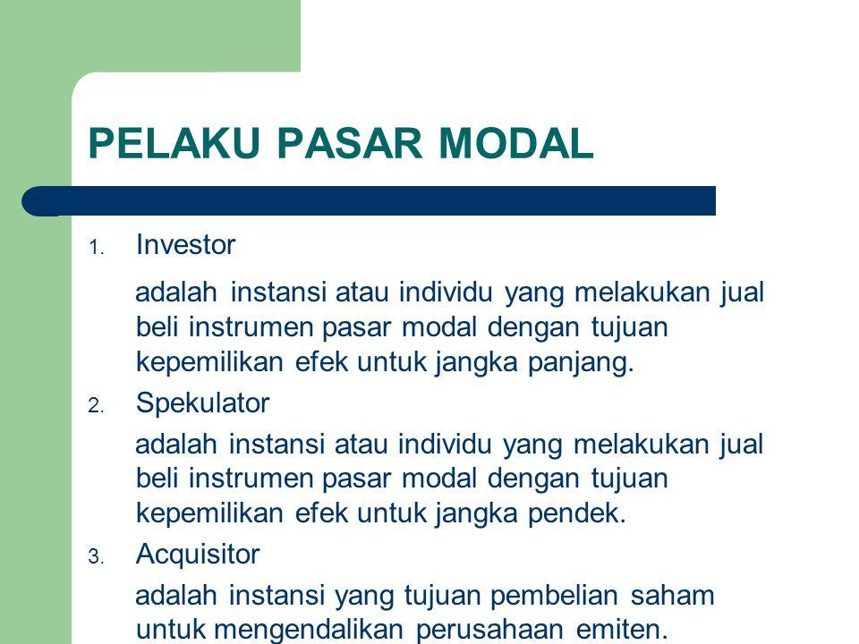 PELAKU PASAR MODAL 1. Investor adalah instansi atau individu yang melakukan jual beli instrumen pasar modal dengan tujuan kepemilikan efek untuk jangk