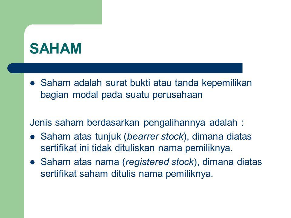 SAHAM Saham adalah surat bukti atau tanda kepemilikan bagian modal pada suatu perusahaan Jenis saham berdasarkan pengalihannya adalah : Saham atas tun