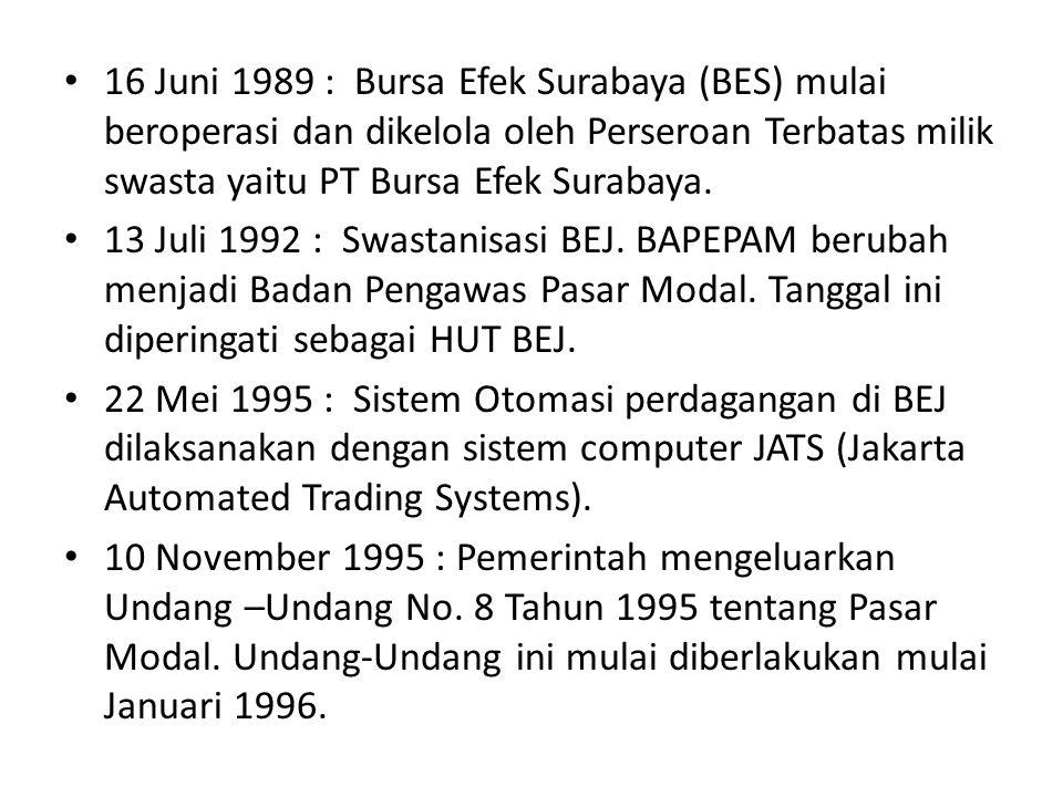 16 Juni 1989 : Bursa Efek Surabaya (BES) mulai beroperasi dan dikelola oleh Perseroan Terbatas milik swasta yaitu PT Bursa Efek Surabaya. 13 Juli 1992