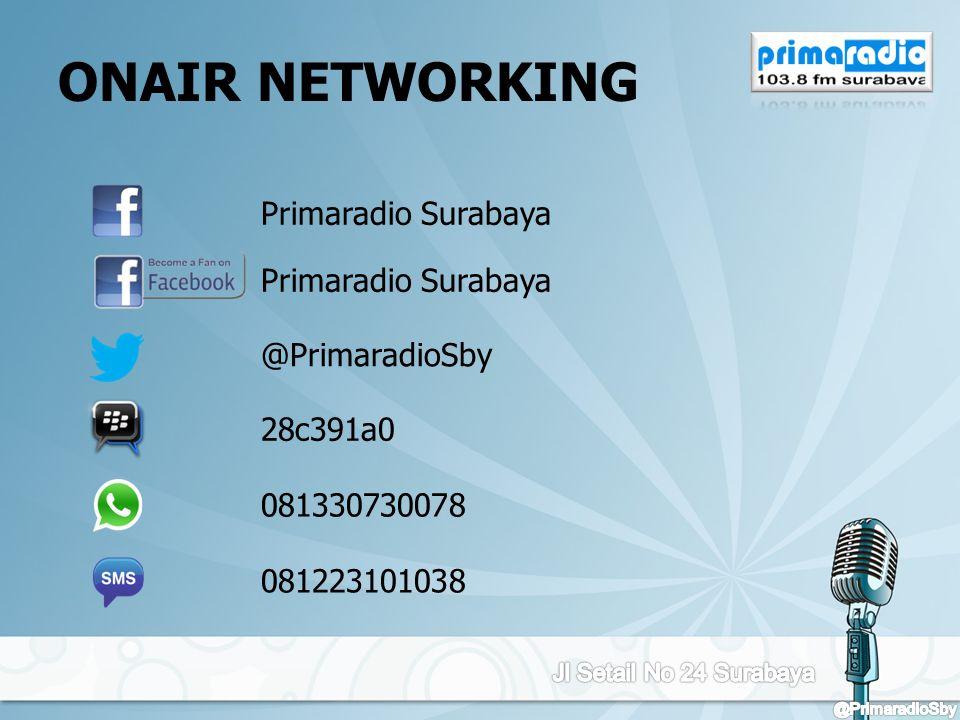 ONAIR NETWORKING Primaradio Surabaya @PrimaradioSby 28c391a0 081330730078 081223101038