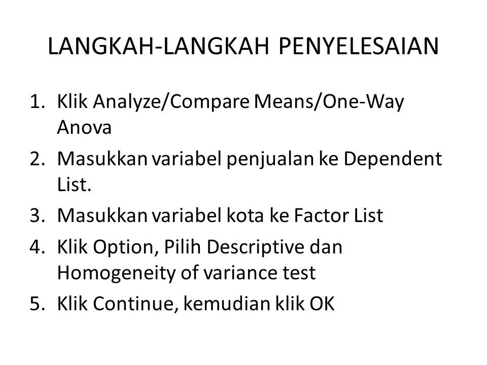 LANGKAH-LANGKAH PENYELESAIAN 1.Klik Analyze/Compare Means/One-Way Anova 2.Masukkan variabel penjualan ke Dependent List. 3.Masukkan variabel kota ke F