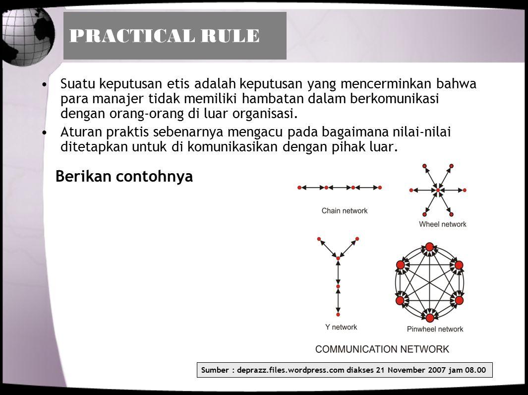 PRACTICAL RULE Suatu keputusan etis adalah keputusan yang mencerminkan bahwa para manajer tidak memiliki hambatan dalam berkomunikasi dengan orang-ora