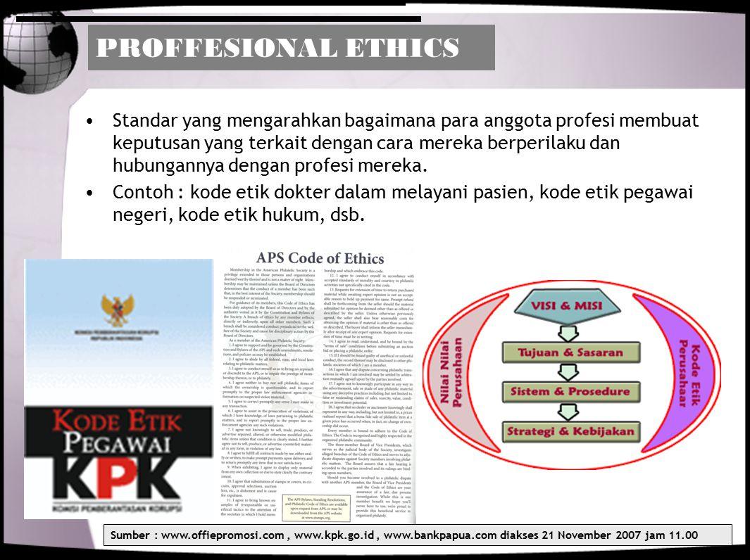 PROFFESIONAL ETHICS Standar yang mengarahkan bagaimana para anggota profesi membuat keputusan yang terkait dengan cara mereka berperilaku dan hubungan