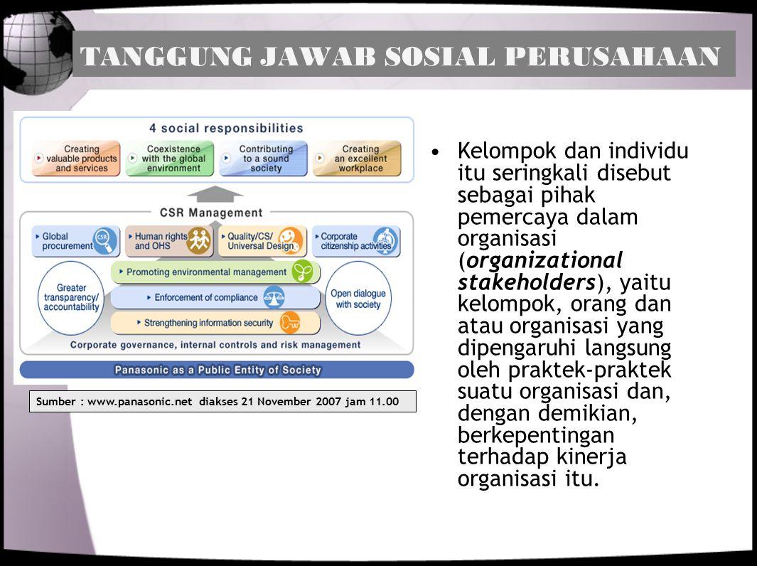 TANGGUNG JAWAB SOSIAL PERUSAHAAN Kelompok dan individu itu seringkali disebut sebagai pihak pemercaya dalam organisasi (organizational stakeholders),