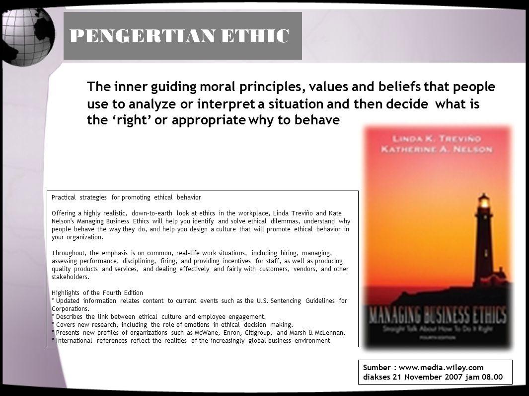 PENTINGNYA ETHIC DALAM ORGANISASI 1.Mengatur perilaku orang- orang dalam organisasi agar sesuai dengan budaya organisasi 2.Menjadi pedoman hubungan kerja dalam organisasi 3.Bila dalam bentuk kode etik, maka berguna untuk membatasi tindakan- tindakan mana yang dianggap 'benar' dan mana yang 'tidak benar' 4.Dengan kode etik, orang- orang menjadi lebih produktif 5.Mengurangi konflik dalam organisasi.