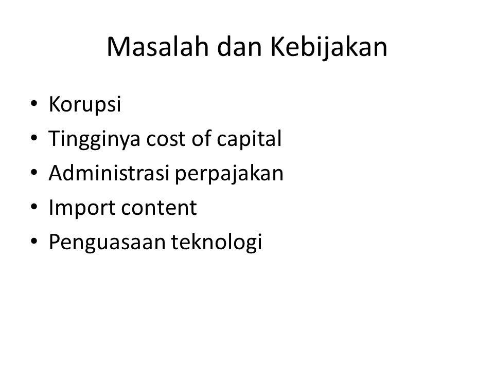Masalah dan Kebijakan Korupsi Tingginya cost of capital Administrasi perpajakan Import content Penguasaan teknologi