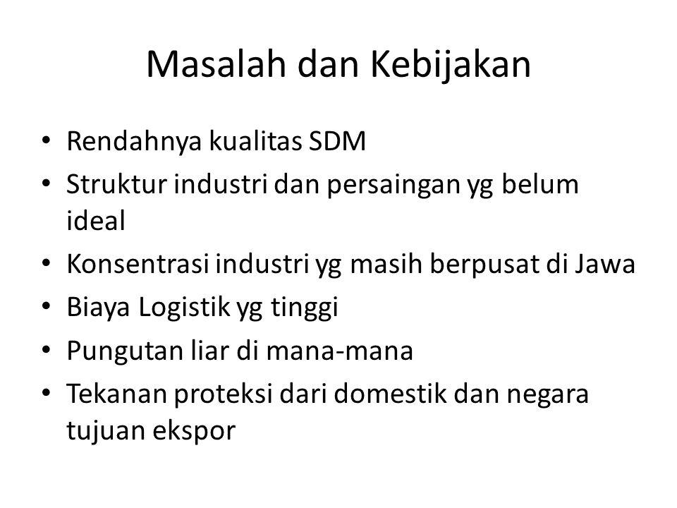 Masalah dan Kebijakan Rendahnya kualitas SDM Struktur industri dan persaingan yg belum ideal Konsentrasi industri yg masih berpusat di Jawa Biaya Logi