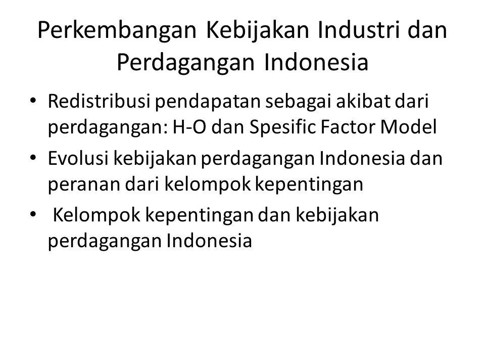 Perkembangan Kebijakan Industri dan Perdagangan Indonesia Redistribusi pendapatan sebagai akibat dari perdagangan: H-O dan Spesific Factor Model Evolu
