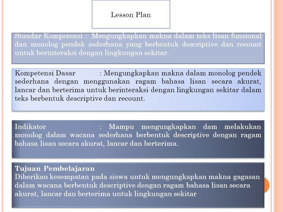 Lesson Plan Standar Kompetensi : Mengungkapkan makna dalam teks lisan funsional dan monolog pendek sederhana yang berbentuk descriptive dan recount untuk berinteraksi dengan lingkungan sekitar.