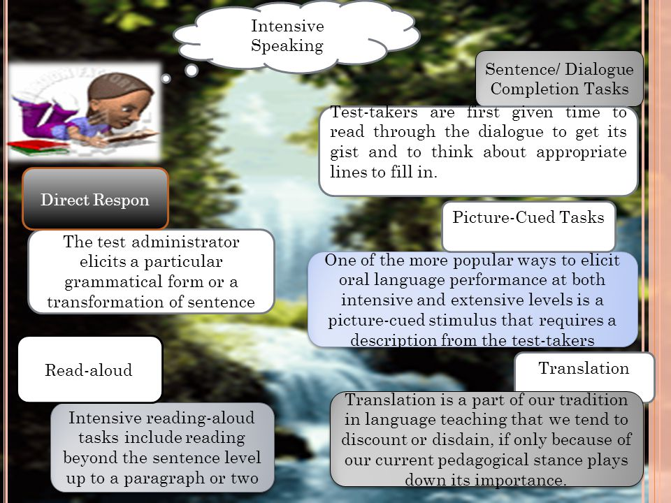 Intensive Speaking Sentence/ Dialogue Completion Tasks Test-takers are first given time to read through the dialogue to get its gist and to think abou