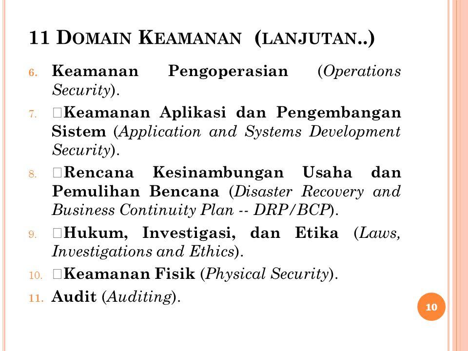 11 D OMAIN K EAMANAN ( LANJUTAN..) 6. Keamanan Pengoperasian ( Operations Security ). 7.  Keamanan Aplikasi dan Pengembangan Sistem ( Application and