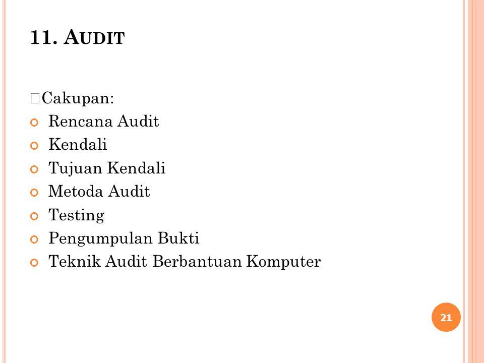 11. A UDIT Cakupan: Rencana Audit Kendali Tujuan Kendali Metoda Audit Testing Pengumpulan Bukti Teknik Audit Berbantuan Komputer 21