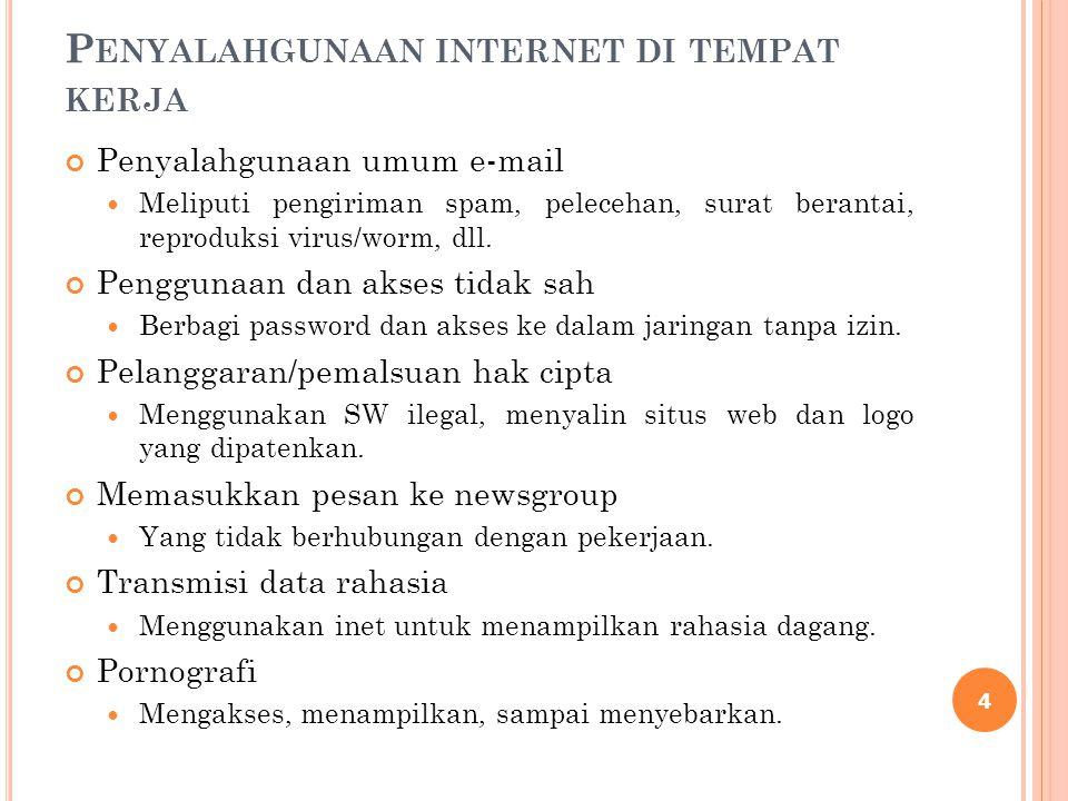 P ENYALAHGUNAAN INTERNET DI TEMPAT KERJA Penyalahgunaan umum e-mail Meliputi pengiriman spam, pelecehan, surat berantai, reproduksi virus/worm, dll. P