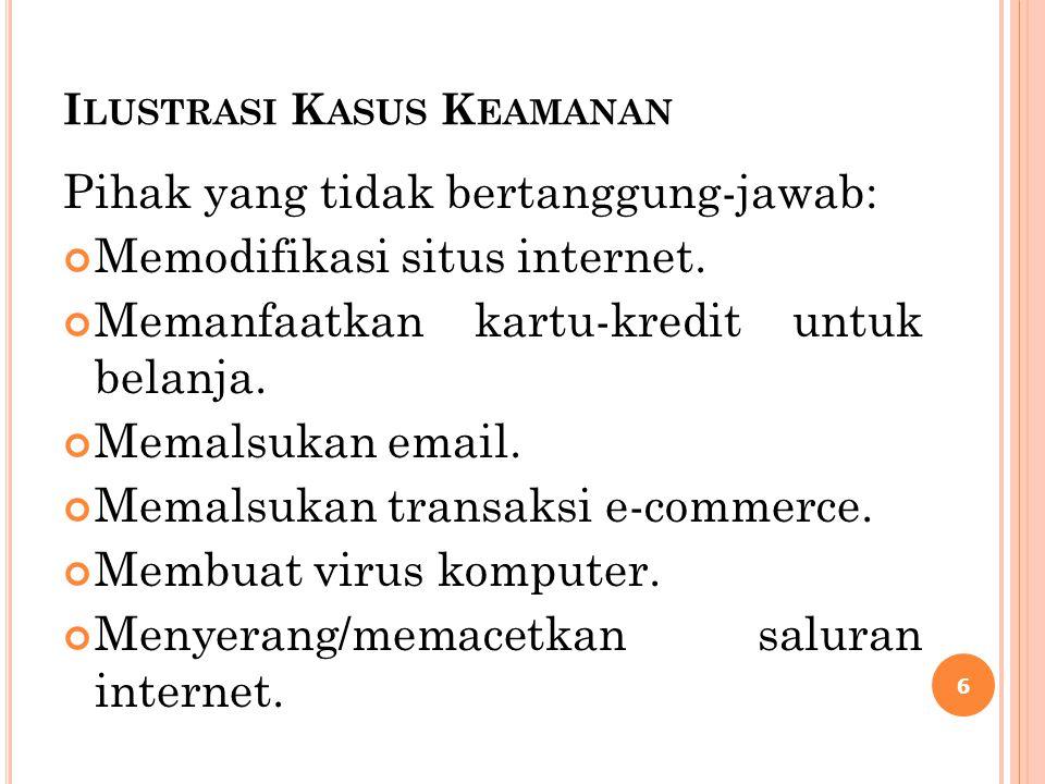 I LUSTRASI K ASUS K EAMANAN Pihak yang tidak bertanggung-jawab: Memodifikasi situs internet. Memanfaatkan kartu-kredit untuk belanja. Memalsukan email