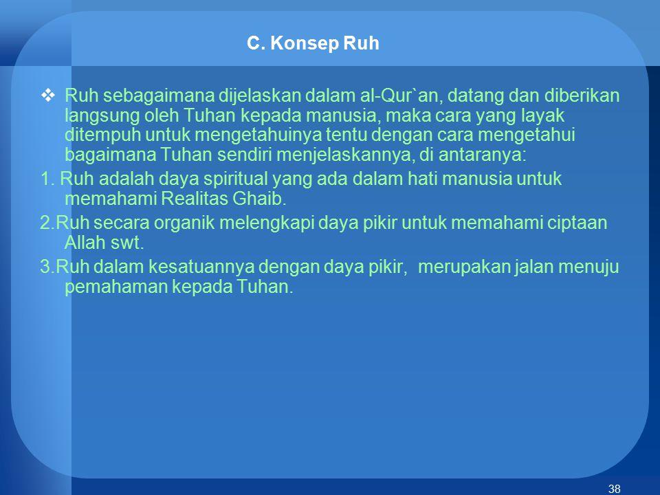 38 C. Konsep Ruh  Ruh sebagaimana dijelaskan dalam al-Qur`an, datang dan diberikan langsung oleh Tuhan kepada manusia, maka cara yang layak ditempuh