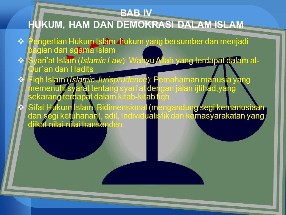 43 BAB IV HUKUM, HAM DAN DEMOKRASI DALAM ISLAM  Pengertian Hukum Islam: hukum yang bersumber dan menjadi bagian dari agama Islam  Syari'at Islam (Is