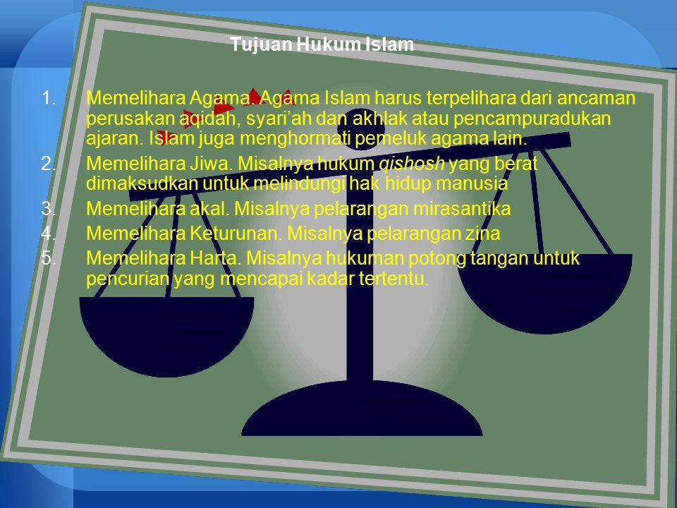 50 Tujuan Hukum Islam 1.Memelihara Agama. Agama Islam harus terpelihara dari ancaman perusakan aqidah, syari'ah dan akhlak atau pencampuradukan ajaran