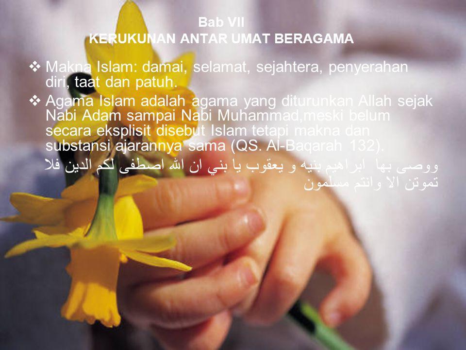 83 Bab VII KERUKUNAN ANTAR UMAT BERAGAMA  Makna Islam: damai, selamat, sejahtera, penyerahan diri, taat dan patuh.  Agama Islam adalah agama yang di