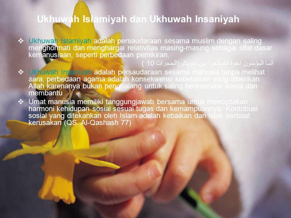 86 Ukhuwah Islamiyah dan Ukhuwah Insaniyah  Ukhuwah Islamiyah adalah persaudaraan sesama muslim dengan saling menghormati dan menghargai relativitas