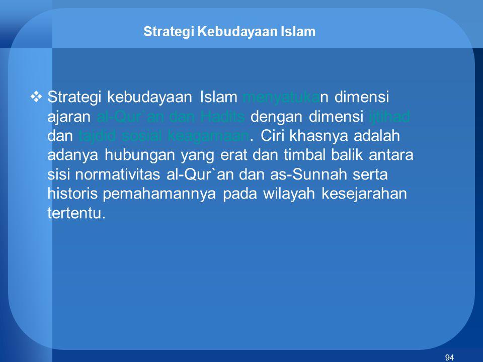 94 Strategi Kebudayaan Islam  Strategi kebudayaan Islam menyatukan dimensi ajaran al-Qur`an dan Hadits dengan dimensi ijtihad dan tajdid sosial keaga