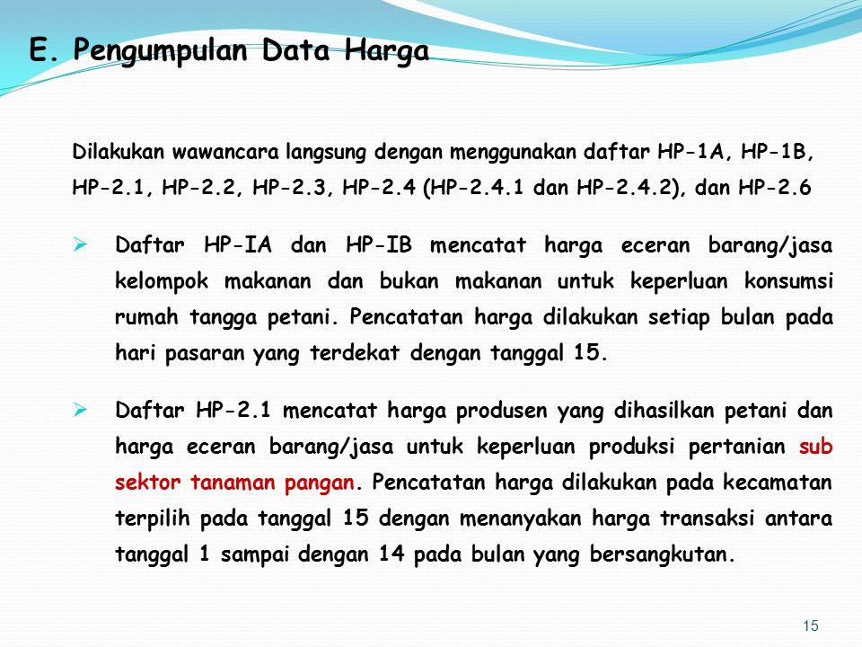 E. Pengumpulan Data Harga Dilakukan wawancara langsung dengan menggunakan daftar HP-1A, HP-1B, HP-2.1, HP-2.2, HP-2.3, HP-2.4 (HP-2.4.1 dan HP-2.4.2),