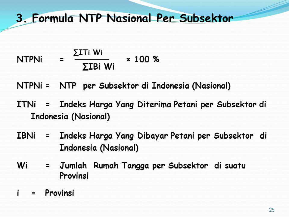 3.Formula NTP Nasional Per Subsektor ∑ITi Wi NTPNi = ────── × 100 % ∑IBi Wi NTPNi=NTP per Subsektor di Indonesia (Nasional) ITNi=Indeks Harga Yang Dit