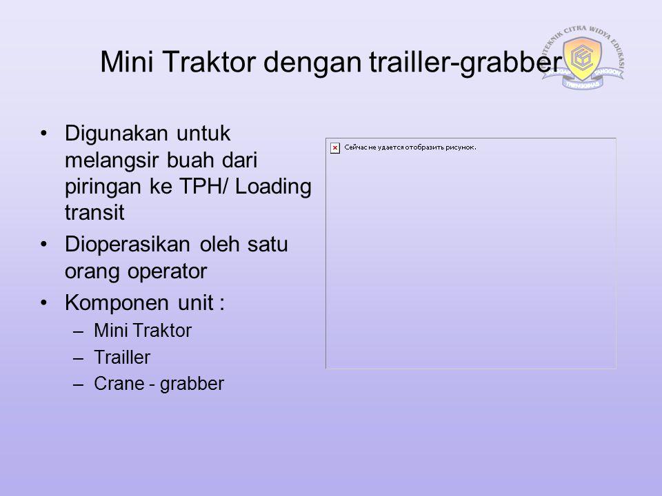 Mini Traktor dengan trailler-grabber Digunakan untuk melangsir buah dari piringan ke TPH/ Loading transit Dioperasikan oleh satu orang operator Kompon