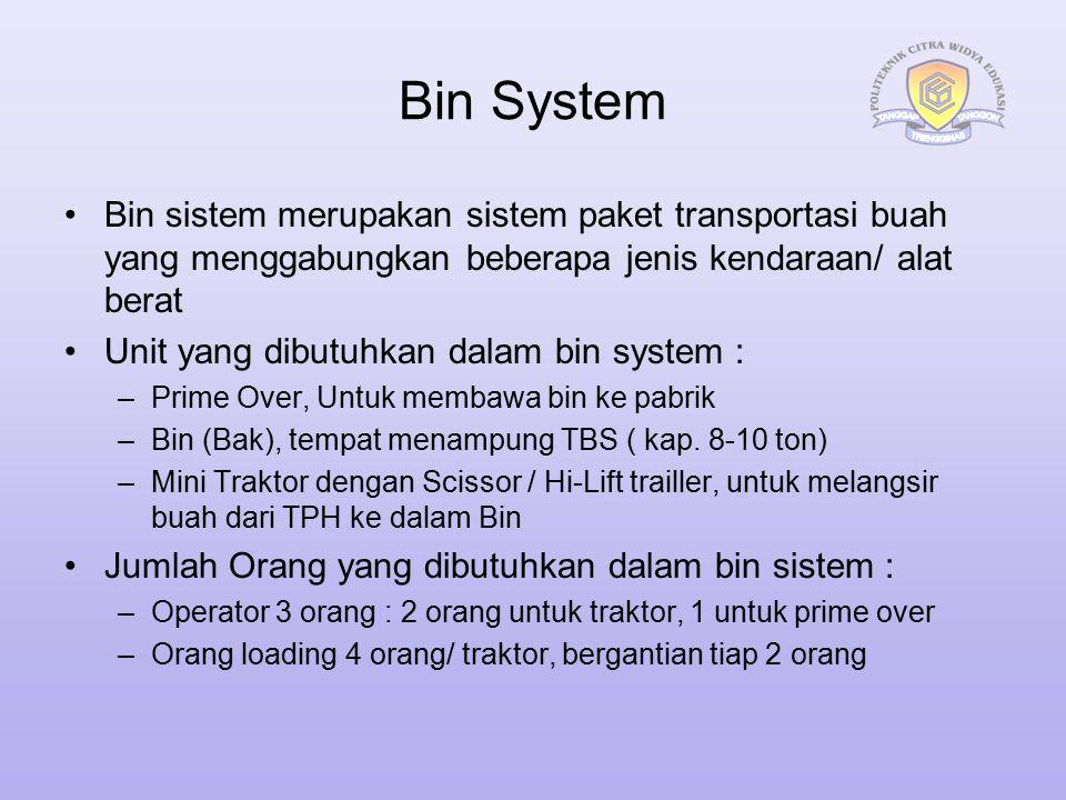 Bin System Bin sistem merupakan sistem paket transportasi buah yang menggabungkan beberapa jenis kendaraan/ alat berat Unit yang dibutuhkan dalam bin