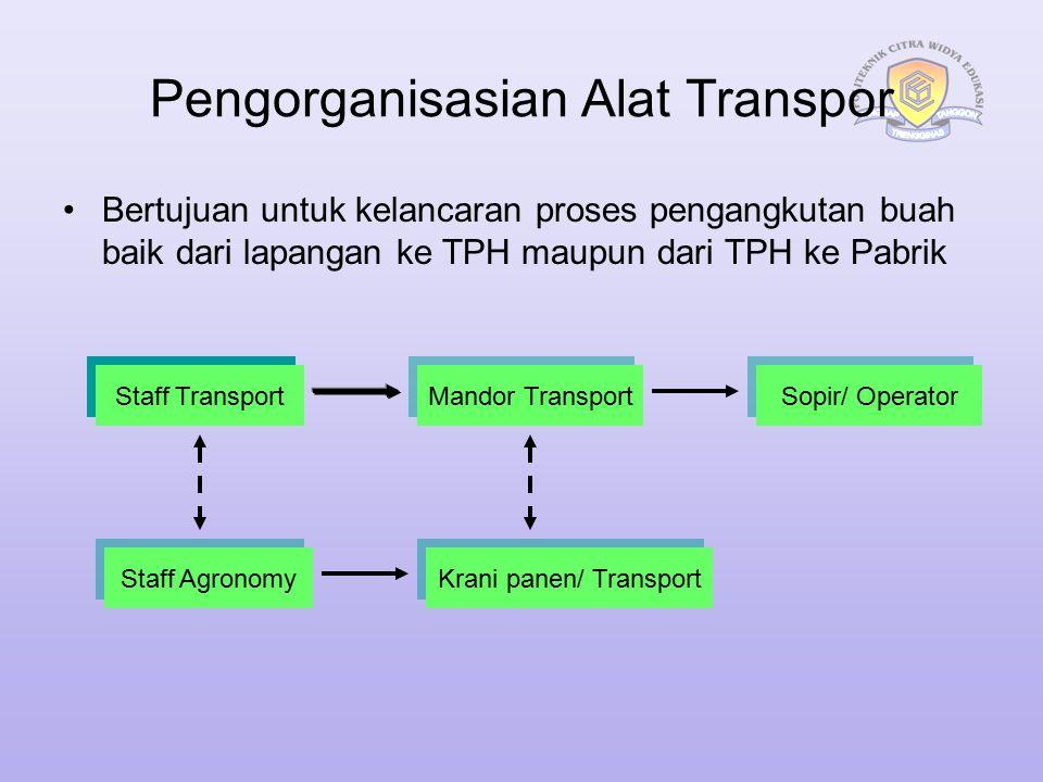 Pengorganisasian Alat Transpor Bertujuan untuk kelancaran proses pengangkutan buah baik dari lapangan ke TPH maupun dari TPH ke Pabrik Staff Transport