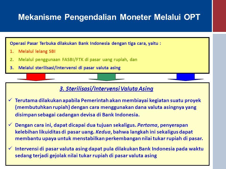 Mekanisme Pengendalian Moneter Melalui OPT Operasi Pasar Terbuka dilakukan Bank Indonesia dengan tiga cara, yaitu : 1.Melalui lelang SBI 2.Melalui pen