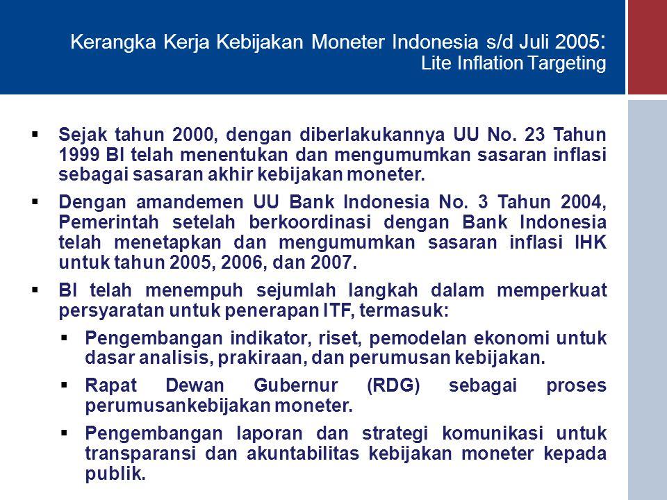 Kerangka Kerja Kebijakan Moneter Indonesia s/d Juli 2005 : Lite Inflation Targeting  Sejak tahun 2000, dengan diberlakukannya UU No. 23 Tahun 1999 BI