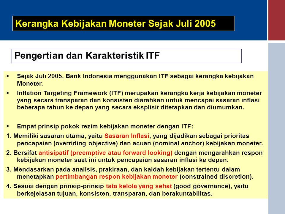  Sejak Juli 2005, Bank Indonesia menggunakan ITF sebagai kerangka kebijakan Moneter.  Inflation Targeting Framework (ITF) merupakan kerangka kerja k