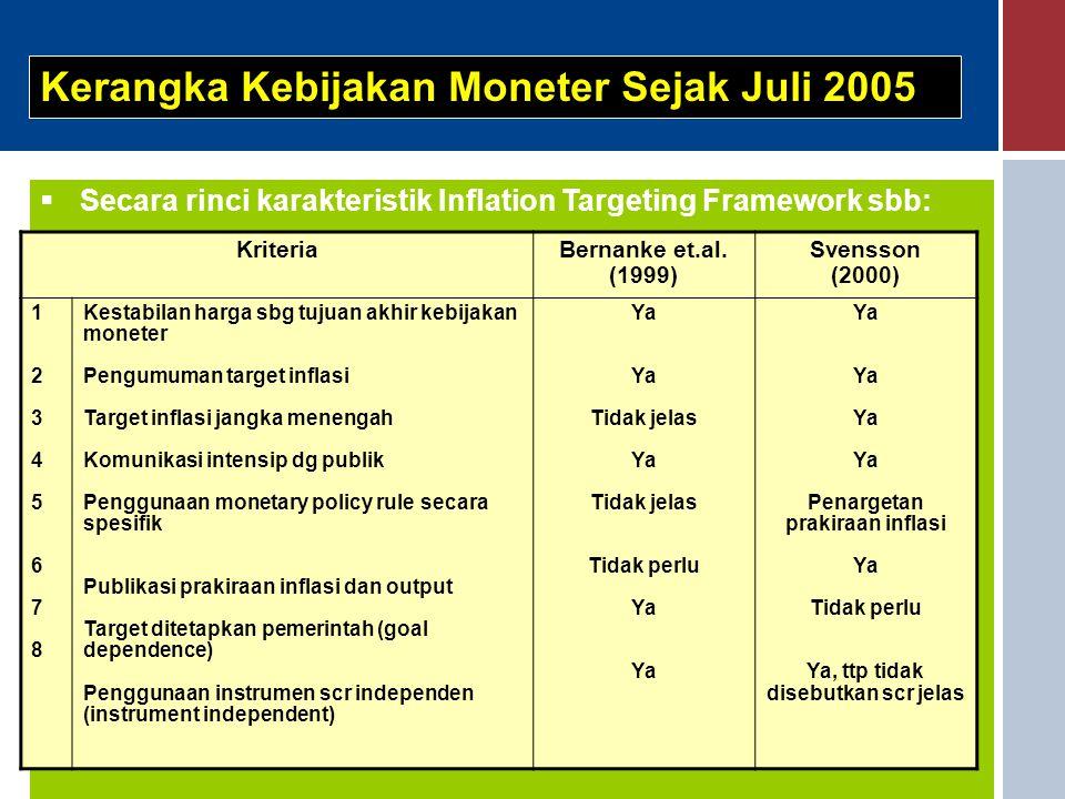  Secara rinci karakteristik Inflation Targeting Framework sbb: Kerangka Kebijakan Moneter Sejak Juli 2005 KriteriaBernanke et.al. (1999) Svensson (20