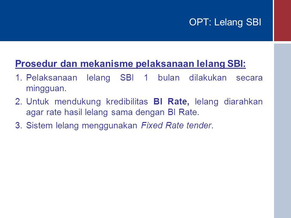 OPT: Lelang SBI Prosedur dan mekanisme pelaksanaan lelang SBI: 1.Pelaksanaan lelang SBI 1 bulan dilakukan secara mingguan. 2.Untuk mendukung kredibili