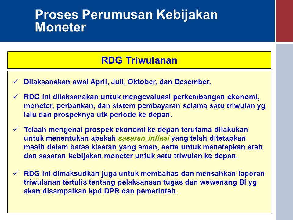 Proses Perumusan Kebijakan Moneter RDG Triwulanan Dilaksanakan awal April, Juli, Oktober, dan Desember. RDG ini dilaksanakan untuk mengevaluasi perkem