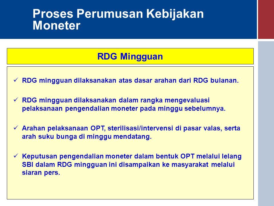 Proses Perumusan Kebijakan Moneter RDG Mingguan RDG mingguan dilaksanakan atas dasar arahan dari RDG bulanan. RDG mingguan dilaksanakan dalam rangka m