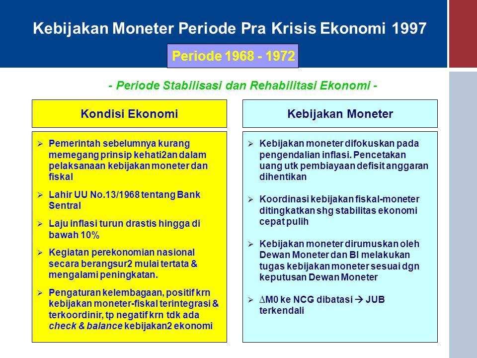 Kebijakan Moneter Periode Pra Krisis Ekonomi 1997 Periode 1968 - 1972 Kondisi EkonomiKebijakan Moneter  Pemerintah sebelumnya kurang memegang prinsip