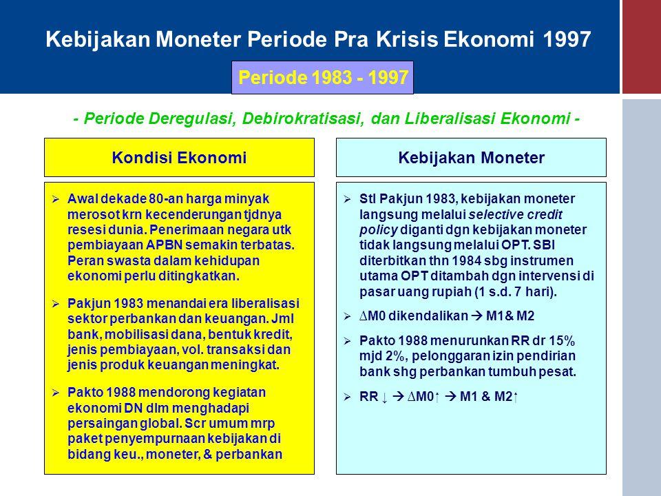 Kebijakan Moneter Periode Pra Krisis Ekonomi 1997 Periode 1983 - 1997 Kondisi EkonomiKebijakan Moneter  Awal dekade 80-an harga minyak merosot krn kecenderungan tjdnya resesi dunia.