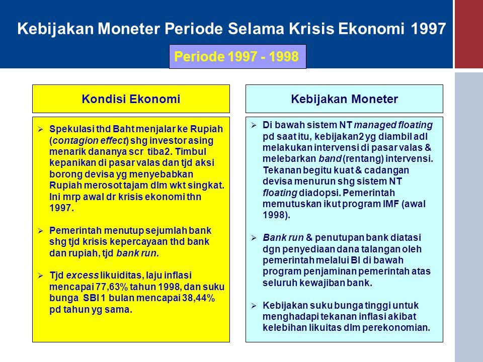 Kebijakan Moneter Periode Selama Krisis Ekonomi 1997 Kondisi EkonomiKebijakan Moneter  Spekulasi thd Baht menjalar ke Rupiah (contagion effect) shg i